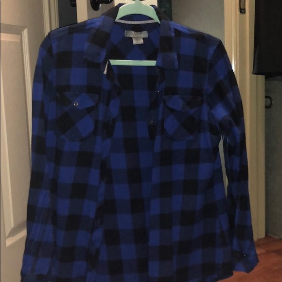Natural Reflections Tops - Blue and black plaid button up